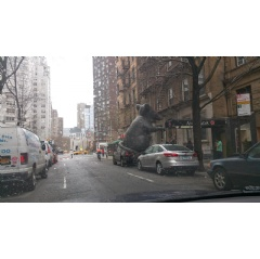20 Foot Inflatable Rat Settling in front of 143 West 69th Street (location of Noi Due Cafe) for Tenant Rat Protest.