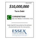 Essex Closes $10.0 Million Term Debt Capital Raise