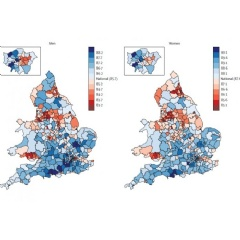 Life expectancy for men and women in each district in