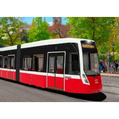 3D rendering of the FLEXITY Vienna tram for Vienna, Austria