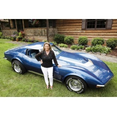 Allstate customer Terry Dietrich poses in front of her 1972 Corvette Stingray that was stolen from her 43 years ago. Allstate recently reunited her with the car after it was found in North Carolina.