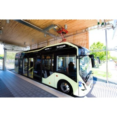 The fully electrified bus departs from the indoor station at Chalmers Campus Johanneberg.