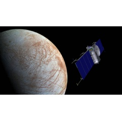 Artist concept of NASA's Europa mission spacecraft approaching its target for one of many flybys. (Image credit: NASA/JPL-Caltech)