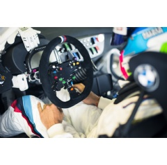 Preparations for 2015 24h Spa-Francorchamps (BE). Bruno Spengler in the cockpit, steering wheel.