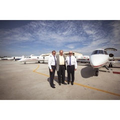 From left to right: Pilot Jeff Triphahn, Clay Lacy and pilot Ed Hillis.