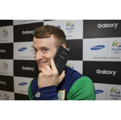 Irish gymnast Kieran Behan tests out his Samsung Galaxy S7 edge Olympic Games Limited Edition at Samsung Galaxy Studio in Olympic Park on Wednesday, August 10, 2016 in Rio de Janeiro, Brazil.