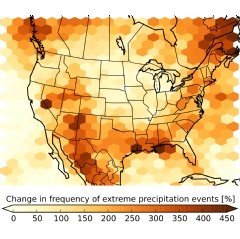 The figure shows the expected increase in the number of summertime storms that produce extreme precipitation at century's end compared to the period 2000 - 2013. ©UCAR. Courtesy Andreas Prein, NCAR.