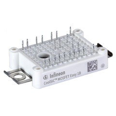 The Easy1B with Six-Pack topology is characterized by the proven Infineon module configuration with an on-resistance (RDS(ON)) of only 45 mΩ. An integrated body diode ensures a low-loss freewheeling function.