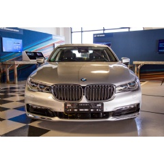 BMW displays 1 of the first highly automated vehicles that were announced by BMW, Intel and Mobileye during a one-day autonomous driving workshop on May 3, 2017, at Intel's Silicon Valley Center for Autonomous Driving in San Jose, CA (Credit: Intel)