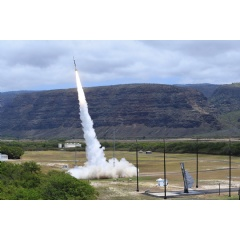 A sounding rocket designed and launched by Sandia National Laboratories lifts off from the Kauai Test Facility in Hawaii on April 24. (Photo by Mike Bejarano and Mark Olona)