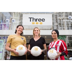 Three Lionesses on its store! Kelly Smith MBE championing the mobile network's petition to create the first female lion emoji, as seen on Three's Oxford Street flagship store.
