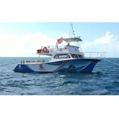 Holiday Diver, the newly acquired 46 foot Newton dive boat at the Ocean Divers facility