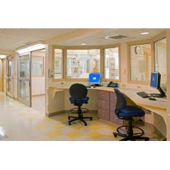 Vision Control integrated louvers are the ideal privacy control solution for hospitals.