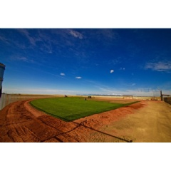 Sod being laid on one of the baseball diamonds at El Paso County Falcon Regional Park
