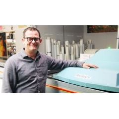 David Leavey, VP Creative Printing, with the Acuity F, at their Kansas City-area facility.