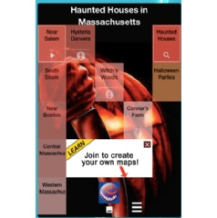 Screen capture of Haunted House internet map at www.webhub.mobi/cflizzysbusy/haunted-houses-in-massachusetts.