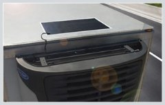 New Thin-Film Flexible Solar Panels from Carrier Transicold are available in a standard configuration for trailer rooftops (shown) and a narrower rail-optimized version.