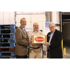 (L to R) Jim Evans, Chief Development Officer, Champions for Kids; Brent West, Tyson Foods, Wilkesboro Plant HR Manager; Clyde Fitzgerald, Executive Director, Second Harvest Food Bank of Northwest NC.