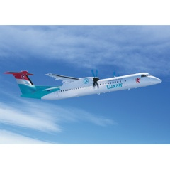 1 of 1 : Bombardier Q400 NextGen aircraft in the livery of Luxair