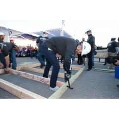 NASCAR's Jimmie Johnson joined Lowe's and Habitat for Humanity to frame a house at the Las Vegas Motor Speedway.
