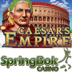 Bonuses, free spins and double comp points on Caesar's Empire slot game at Springbok Casino.