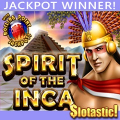 $146,088 jackpot winner on Spirit of the Inca slot at Slotastic!