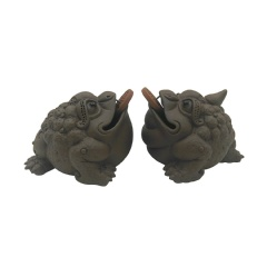 NimaTea Chinese Tea Pet Lucky Toad Set (Male and Female Money Toads)