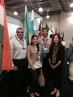 TWI's Andy Pena (far left) & Benjamin Castor (2nd from right) with Zhibek Karamanova, Founder-Dining Smart; & Aliya Shaikhina, US Commercial Services