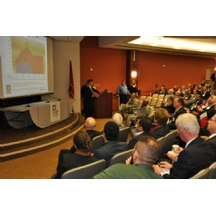USACE Middle East District Deputy, Tom Waters, speaks to attendees during the Middle East District Industry Day