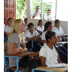 Actress Malin Akerman at the Emprendedora High School, Nicaragua