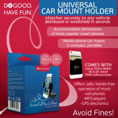 The Do Good Have FunTM Universal Car Mount Holder 20% Off Sale w/ Free Credit Card Wallet for Smartphones