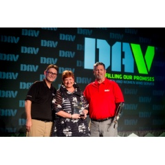 Jan Jones accepting the Outstanding Midsize Employer of the Year award at DAV's national convention in New Orleans. The award was presented by the DAV National Employment Director Jeff Hall (left) and DAV National Commander Dave Riley (right)