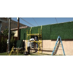 Installation of artificial hedge in North Hollywood