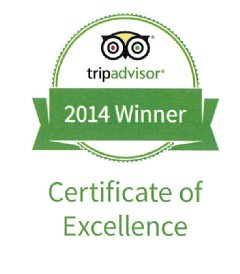 TripAdvisor® Certificate of Excellence