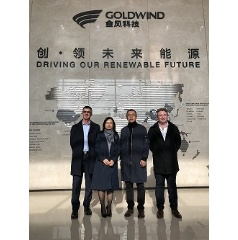 (From left to right): Mr. Brendan Ryan, Contracts Manager, TWPS; Ms. Yan Yang, Director, Advisian China; Mr. Jiang Hu, Vice President, GoldWind Tianrun; Mr. Denis Marshment, Advisian Digital. -Credit: WorleyParsons-