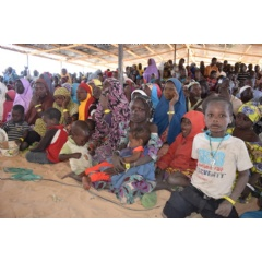 Newly arrived Nigerian refugees attend a meeting in Dar es salam camp, Chad, January 2019.  © UNHCR/Aristophane Ngargoune