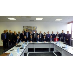 Representatives of the IAEA mission team and the Romanian counterpart during a meeting on the OSART follow-up mission to Cernavoda NPP (Photo: Cernavoda NPP).