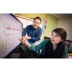 Corresponding author Xiaotu Ma, Ph.D., (left) with corresponding Jinghui Zhang, Ph.D., illustrates the significantly decreased error rate using CleanDeepSeq.   -Credit: St. Jude Children's Research Hospital-