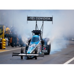 Antron Brown drove his Toyota dragster to his first final round of the season in Sunday's NHRA SpringNationals at Houston Raceway Park.  -CREDIT: Toyota-