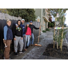 Kaiser, left, led a group of HOK volunteers in a community planting in San Francisco's Portola neighborhood. -CREDIT: HOK-
