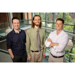 University of Illinois researchers Jeremy Guest, left, John Trimmer and Daniel Miller have developed a conceptual roadmap to help guide others through the unexplored environmental and economic aspects of sanitation. Photo by L. Brian Stauffer