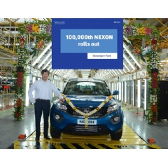 Mr. Mayank Pareek – President, Passenger Vehicle Business Unit (PVBU), Tata Motors at the 100,000th roll out of India's safest car – Tata Nexon today at the Ranjangaon