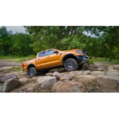 2019 Ford Ranger: A first-ever offering from Ford, the off-road leveling kits bring FOX™ shocks, exclusive Ford Performance tuning, 2-inch front lift, new front coilovers, vehicle-specific upper front mounts and locking spring pre-load rings