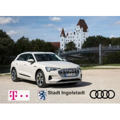 "The Audi e-tron in front of the so-called `New Castle"" in Ingolstadt"