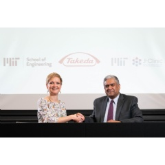 Anantha Chandrakasan, dean of MIT's School of Engineering (right), and Anne Heatherington, senior VP and head of Data Sciences Institute at Takeda, at the ceremonial signing for the establishment of the MIT-Takeda Program. Photo: David Degner