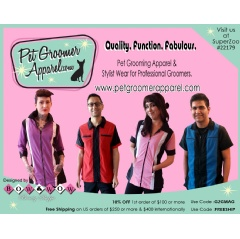 Pet Groomer Apparel and Stylist Wear for Pet Groomers, Hair Stylists, and Barbers available at www.petgroomerapparel.com