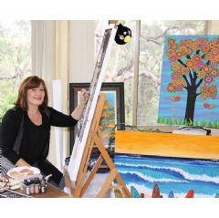 Ms Lisa Frances Judd at work, creating joyful art, in her Blue Mountains, NSW Art Studio.