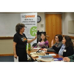 Kidpower Executive Director Irene van der Zande leads a child safety training for professionals
