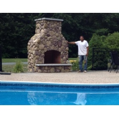 Sal's Masonry outdoor fireplace built in Andover, MA