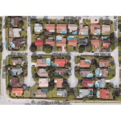 Satellite photograph of a neighborhood in Coral Springs, Florida
